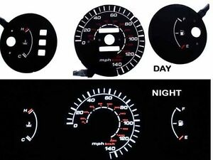92 95 Civic Mt No Rpm Black White Indiglo Glow El Gauge