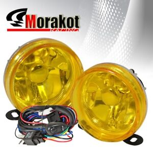Universal 3 5 Round Bumper Driving Fog Light Lamp Yellow With Wiring Harness