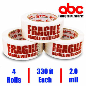 2 Inch 4 Rolls Fragile Marking Packing Tape Shipping 2 0 Mil 330 Feet 110 Yards