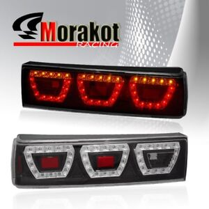 Ford Mustang 87 93 1 Piece Led Left right Rear Brake Signal Tail Lights Black