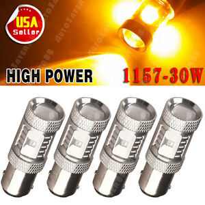 4x Amber Yellow 1157 30w High Power Led Back Up Reverse Stop Light Bulbs