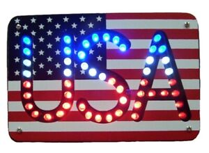 Usa American Flag Red White Blue Led Trailer Hitch Cover Plug Class Iii New