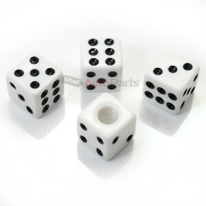 4 White Dice Tire Wheel Stem Air Valve Caps Covers Set Car Truck Hot Rod Atv