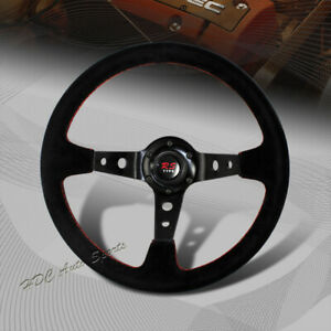 350mm 6 Hole Black Suede Leather Red Stitch Deep Dish Steering Wheel Universal 2