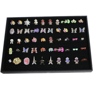 Velvet 100 slot Ring Earring Cufflinks Jewelry Display Tray Box Case Organizer