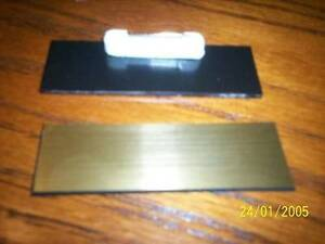 40 Gold With Black Core Blank Name Badges Tags 1x3 With Pins