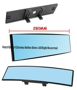 280mm Wide Convex Curve Blue Tint 80mm Height Interior Clip On Rear View Mirror