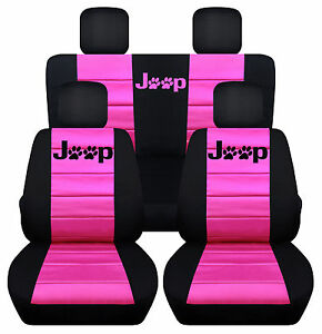 Front rear Black hot Pink Jeep Seatcovers Pawprint Fit Wrangler 2dr 2011 2018