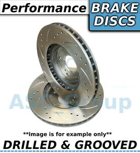 2x Pair Uprated Performance Drilled And Grooved Front Brake Discs 295mm
