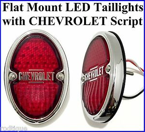 Chevrolet Script Led Taillights Flat Mount Chevy Truck Roll Pan Hot Rod Pair