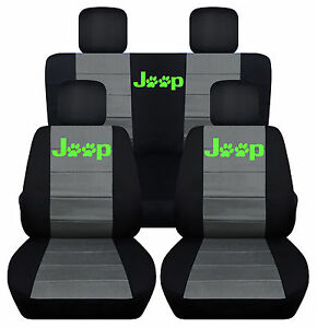 Front Rear Blk Charcoal Seatcovers Lime Pawprint Fit Jeep Wrangler 2dr 2011 2018
