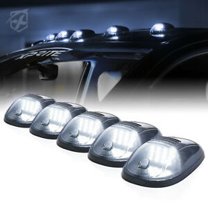 5 Smoked 12 Led Running Marker Lights Cab Roof Top Suv Rv Truck Pickup White