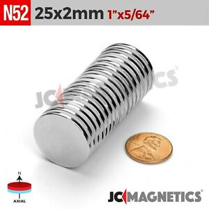 5 10 25 50 100pc 25mm X 2mm 1 x1 16 N52 Strong Disc Rare Earth Neodymium Magnet