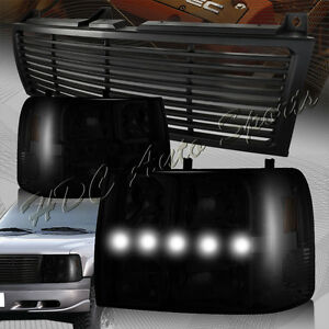 For 1999 2002 Chevrolet Silverado Led Drl Conversion Smoke Headlights Blk Grille