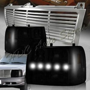 For 1999 2002 Chevy Silverado Led Drl Conversion Smoke Headlights chrome Grille