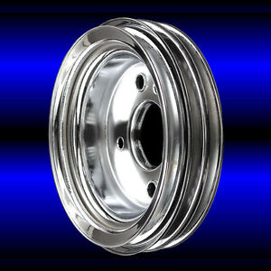 Chrome 3 Grv Crankshaft Pulley For Big Block Chevy Short Water Pump 396 427 454