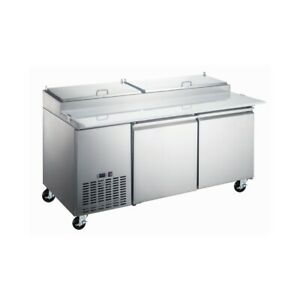 Peakcold 72 Stainless Steel Double Door Refrigerated Pizza Prep Table