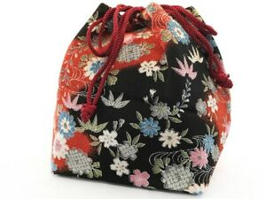 Vintage Japanese Kinchaku Draw String Bag In Floral Rayon Chirimen Fabric T