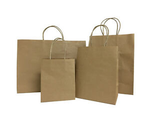 50pcs Brown Small large Kraft Paper Bag Shopping Wedding Party Gift Handles Bag