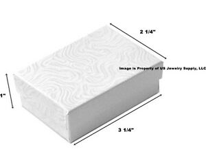 1000 White Swirl Cotton Filled Jewelry Packaging Gift Boxes 3 1 4 X 2 1 4 X 1