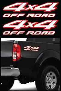 2 4x4 Offroad White Red Decals Parts For Nissan Frontier Trucks Size 4 X15