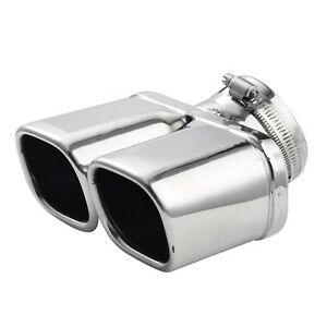 Car Stainless Steel Dual Muffler End Exhaust Trim Tail Pipe Tip Exhaust Chrome