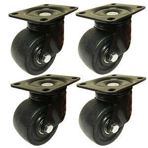 3 Machine Swivel Plate Caster Nylon Wheel 550 Lbs Capacity 4 Ea