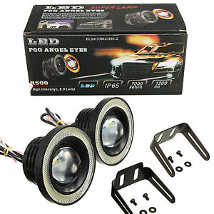 2pcs 3 5 Super White Cob Led Driving Fog Lamp Work Light W Halo Angel Eye Ring