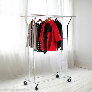 Heavy Duty Commercial Grade Collapsible Clothing Garment Rolling Rack Chrome Us