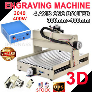 4 Axis Cnc 3040 Router 400w Engraver Drilling Milling 3d Cutter Machine a Axis