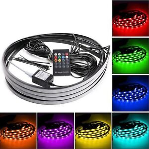 7 Color 5050 Led Underbody Underglow Lights Kit Remote Sound Activate Effect