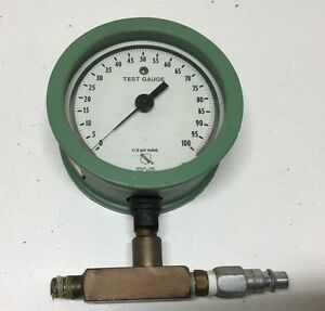 Vintage 5 X 2 1 2 Thick Ashcroft Usa Pressure Test Gauge 100psi Steampunk