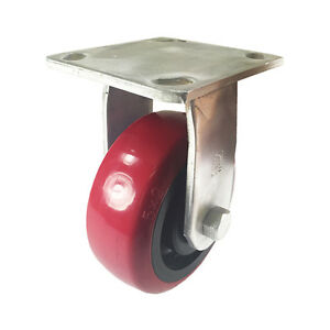 5 X 2 Heavy Duty Stainless Steel polyurethane Wheel Caster Rigid