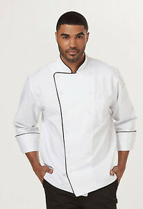 White With Black Dickies Unisex Executive Chef Coat With Piping Dc42b Wtbk