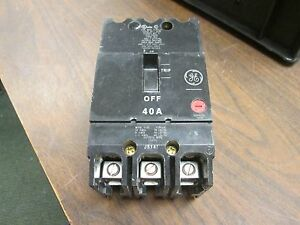 Ge Circuit Breaker Tey340 40a 480 277v 3p New Take Out