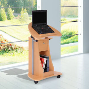 Adjustable Laptop Notebook Desk Table Workstation W Wheels Office Home Storage