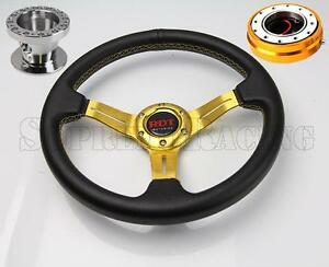 Gold Quick Release Steering Wheel Combo Kit W hub For Honda Civic 1996 2000 Ek