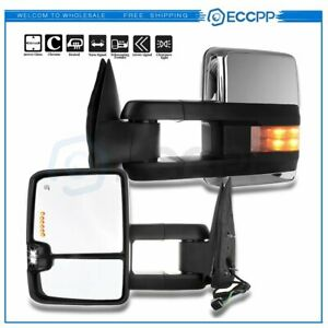 Smoke Led Signal Power Tow Chrome Mirrors For 99 02 Silverado Sierra Pair