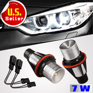 2x High Power 7w Led 6000k White Angel Eyes Halo Ring Drl Head Lights For Bmw