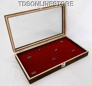 Rustic Antique Brown Color 72 Ring Glass Top Display Case Red Insert