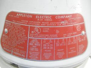 Appleton Vented Explosion Proof Lighting Fixture A 51 Series