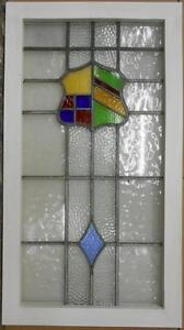 Large Old English Leaded Stained Glass Window Awesome Sheild Design 20 X 36