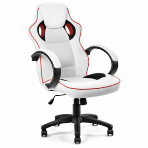 Executive High Back Sport Racing Style Gaming Office Chair Computer Swivel White