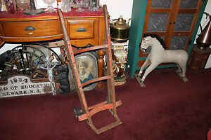 Antique Industrial Commercial Hand Cart Hand Truck Metal Wood Country Decor