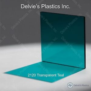 5 Sheets 1 8 2120 Transparent Teal Cell Cast Acrylic Plexiglass 12 X 12