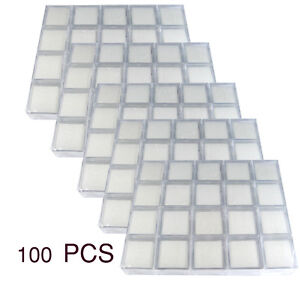 100 Pcs Of Clear Plastic Jar Box Size 3x3x2cm Gemstone Display Show Case
