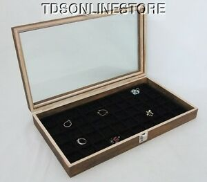 Rustic Antique Brown Color 50 Slot Jewelry Glass Top Display Case Black