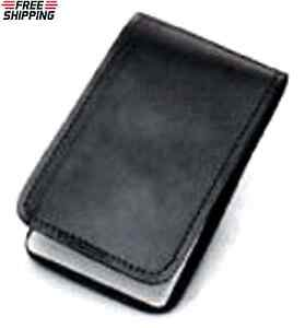 Black Leather Pocket 3x5 Home Memo Book Cover Office Note Pad Holder Plain Kit