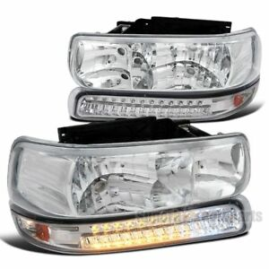 2000 2006 Chevy Tahoe Suburban Euro Clear Headlight Led Bumper Signal Lamps