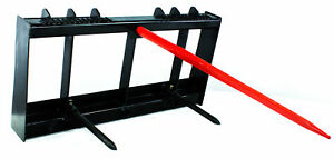 Titan Hd Frame 43 Tractor Hay Spear 2 Stabilizers Skid Steer 4000lb Capacity